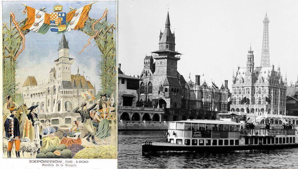 """Paris, Exposition universelle de 1900. Pavillon de la Hongrie. Architectes : MM. Balint et Jambor. """"Le Petit Journal"""", mars 1900.     RVB-07777"""