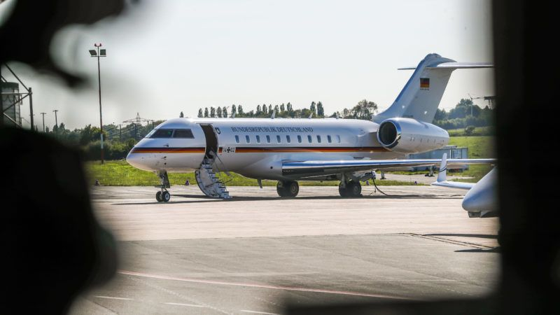 """13 May 2019, North Rhine-Westphalia, Dortmund: Chancellor Angela Merkel's damaged government plane is parked at Dortmund airport. After an appointment in Wuppertal she was supposed to fly on with the government plane. However, a ground vehicle had damaged the parked aircraft. The CDU politician had not been on board, a spokesperson for the air force said. It was brought back to Berlin by the German Armed Forces air force with another aircraft. The vehicle touched the standing """"Global 5000"""", it was said in an air force tweet. Photo: Stephan Schütze/dpa"""