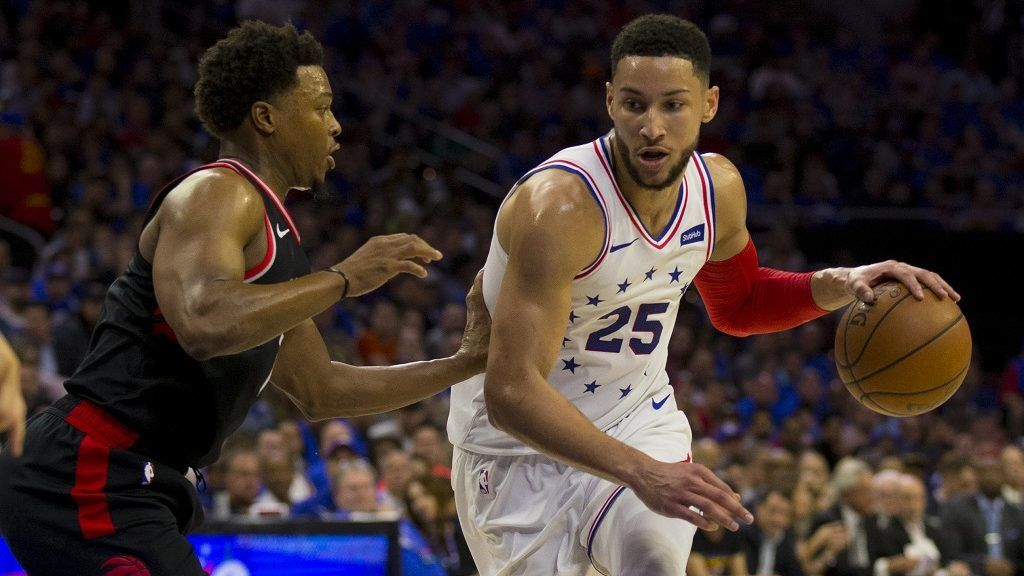 PHILADELPHIA, PA - MAY 02: Ben Simmons #25 of the Philadelphia 76ers drives to the basket against Kyle Lowry #7 of the Toronto Raptors in the second quarter of Game Three of the Eastern Conference Semifinals at the Wells Fargo Center on May 2, 2019 in Philadelphia, Pennsylvania. NOTE TO USER: User expressly acknowledges and agrees that, by downloading and or using this photograph, User is consenting to the terms and conditions of the Getty Images License Agreement.   Mitchell Leff/Getty Images/AFP