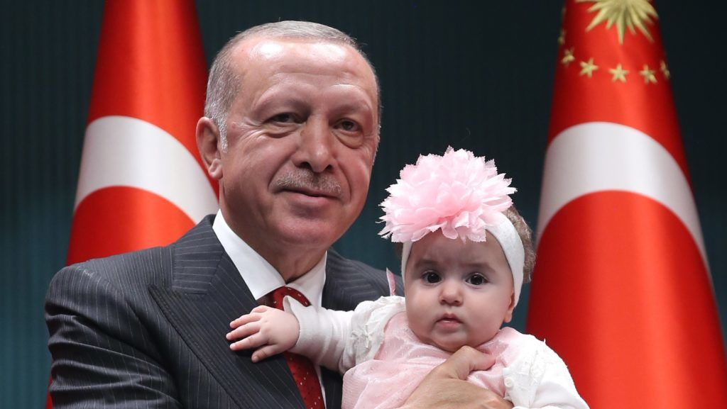ANKARA, TURKEY - MAY 06: Turkish President Recep Tayyip Erdogan attends State Commendation Medal Ceremony with the families of martyrs at Presidential Complex in Ankara, Turkey on May 06, 2019.   Murat Kula / Anadolu Agency