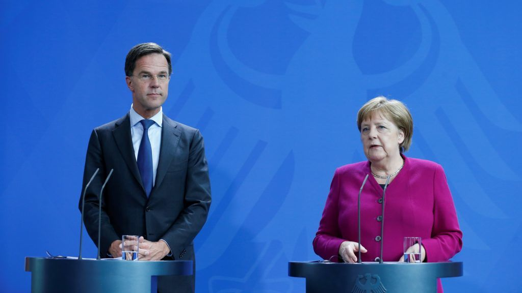 BERLIN, GERMANY - MAY 16: German Chancellor Angela Merkel (R) and Dutch Prime Minister Mark Rutte (L) hold a joint press conference after their meeting on May 16, 2019 in Berlin, Germany.   Abdulhamid Hosbas / Anadolu Agency