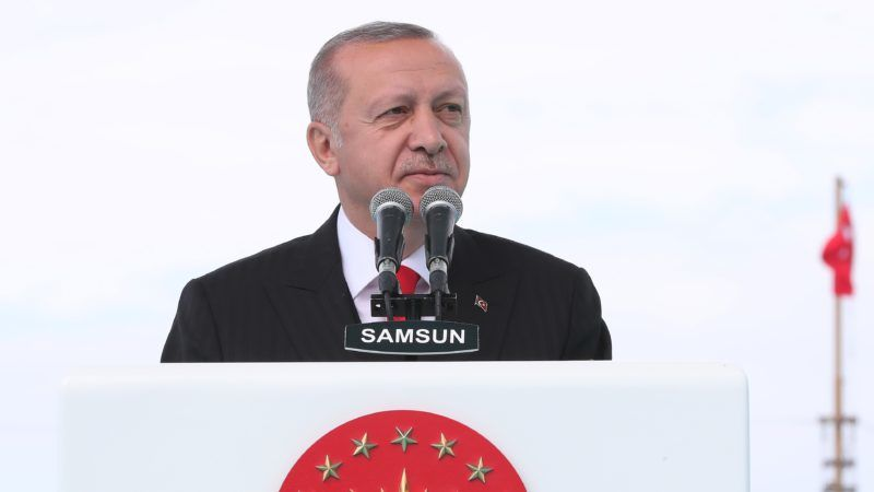 """SAMSUN, TURKEY - MAY 19: (----EDITORIAL USE ONLY – MANDATORY CREDIT - """"TURKISH PRESIDENCY / KAYHAN OZER / HANDOUT"""" - NO MARKETING NO ADVERTISING CAMPAIGNS - DISTRIBUTED AS A SERVICE TO CLIENTS----) President of Turkey, Recep Tayyip Erdogan speaks during a ceremony marking the 100th anniversary of Ataturk's arrival at Samsun in 1919 to begin Turkish War of Independence within the May 19th Commemoration of Ataturk, Youth and Sports Day at the Tutun Pier in Samsun, Turkey on May 19, 2019. Turkish Presidency / Kayhan Ozer / Handout / Anadolu Agency"""