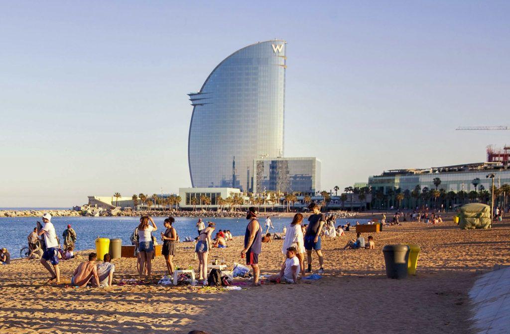 Spain, Catalonia, Barcelona, Barceloneta, district, W Hotel better known as Vela (Sailing) Hotel