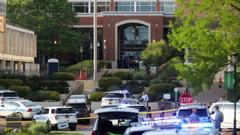 Police keeps the campus on lockdown after a shooting at the University of North Carolina Charlotte in University City, Charlotte, on April 30, 2019. - Six people were shot, two of them died on the University of North Carolina Charlotte campus. One person was taken into custody, according to police sources. (Photo by Logan Cyrus / AFP)