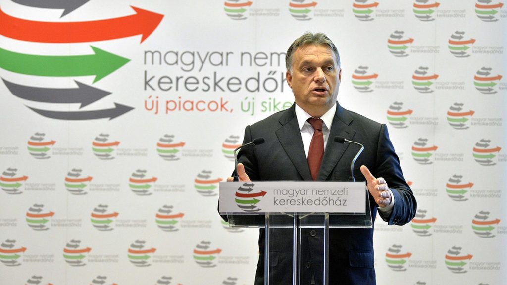 Budapest, 2014. november 11.Orbán Viktor miniszterelnök beszédet mond az azerbajdzsáni üzleti környezet megismertetésére rendezett üzleti fórumon, amelyet a Magyar Nemzeti Kereskedőház Zrt. rendezett a hazai kis- és közepes vállalkozások vezetői számára 2014. november 11-én.MTI Fotó: Máthé Zoltán