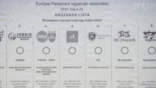 Budapest, 2019. május 10. A május 26-i európai parlamenti választásra készülõ szavazólapok mintapéldánya a budapesti ANY Biztonsági Nyomdában 2019. május 10-én. MTI/Balogh Zoltán