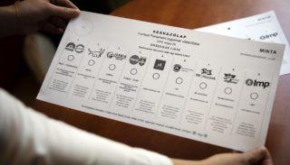 Budapest, 2019. május 2. Az EP-választás szavazólapmintája a Nemzeti Választási Bizottság (NVB) ülésén a Nemzeti Választási Iroda (NVI) Alkotmány utcai székházában 2019. május 2-án. MTI/Mohai Balázs