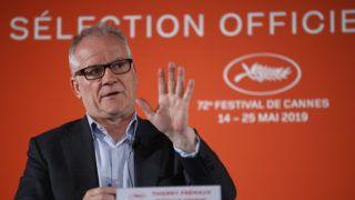 Párizs, 2019. április 18. Thierry Fremaux fesztiváligazgató a 72. Cannes-i Nemzetközi Filmfesztiválról tartott párizsi sajtóértekezleten 2019. április 18-án. MTI/AP/Francois Mori