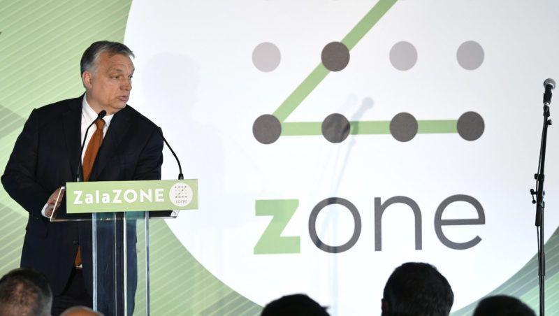 Zalaegerszeg, 2019. május 20. Orbán Viktor miniszterelnök beszédet mond a ZalaZone Zalaegerszegi Járműipari Tesztpálya első ütemének átadásán 2019. május 20-án. MTI/Szigetváry Zsolt