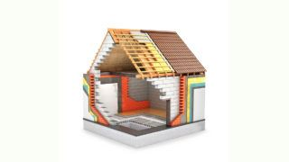 concept of construction. 3d render of a house in the process of construction. Thermal insulation