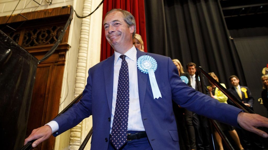 Brexit Party leader Nigel Farage reacts after the European Parliament election results for the UK South East Region are announced at the Civic Centre Southampton, Southern England, on early May 27, 2019. (Photo by TOLGA AKMEN / AFP)