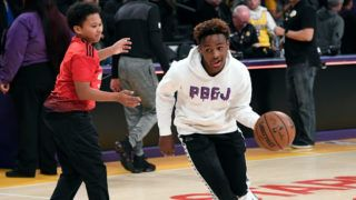 LOS ANGELES, CA - DECEMBER 28:  LeBron James Jr., son of LeBron James #23 of the Los Angeles Lakers shoots a basket after the Los Angeles Clippers and Los Angeles Lakers basketball game at Staples Center on December 28, 2018 in Los Angeles, California. NOTE TO USER: User expressly acknowledges and agrees that, by downloading and or using this photograph, User is consenting to the terms and conditions of the Getty Images License Agreement. (Photo by Kevork Djansezian/Getty Images)