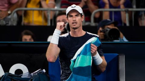 MELBOURNE, AUSTRALIA - JANUARY 14: Andy Murray of Great Britain celebrates in his first round match against Roberto Bautista Agut of Spain during day one of the 2019 Australian Open at Melbourne Park on January 14, 2019 in Melbourne, Australia. (Photo by TPN/Getty Images)