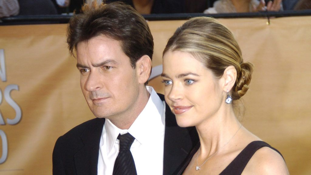 Charlie Sheen and Denise Richards during 2005 Screen Actors Guild Awards - Arrivals at The Shrine in Los Angeles, California, United States. (Photo by Jeff Kravitz/FilmMagic)