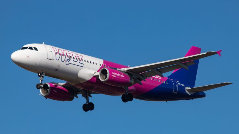 Airbus A320 ( A320-232) aircraft of the low cost airline Wizz Air ( W6 ) with registration landing at Eindhoven EIN EHEH international airport in The Netherlands during the day with nice weather and blue sky.  WizzAir is a budget European airline with headquarters in Budapest, Hungary. (Photo by Nicolas Economou/NurPhoto via Getty Images)