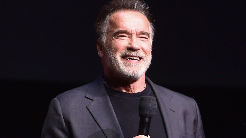 LAS VEGAS, NV - APRIL 04:  Arnold Schwarzenegger speaks onstage at CinemaCon 2019- Paramount Pictures Invites You to an Exclusive Presentation Highlighting Its Upcoming Slate at The Colosseum at Caesars Palace during CinemaCon, the official convention of the National Association of Theatre Owners, on April 4, 2019 in Las Vegas, Nevada.  (Photo by Matt Winkelmeyer/Getty Images for CinemaCon)
