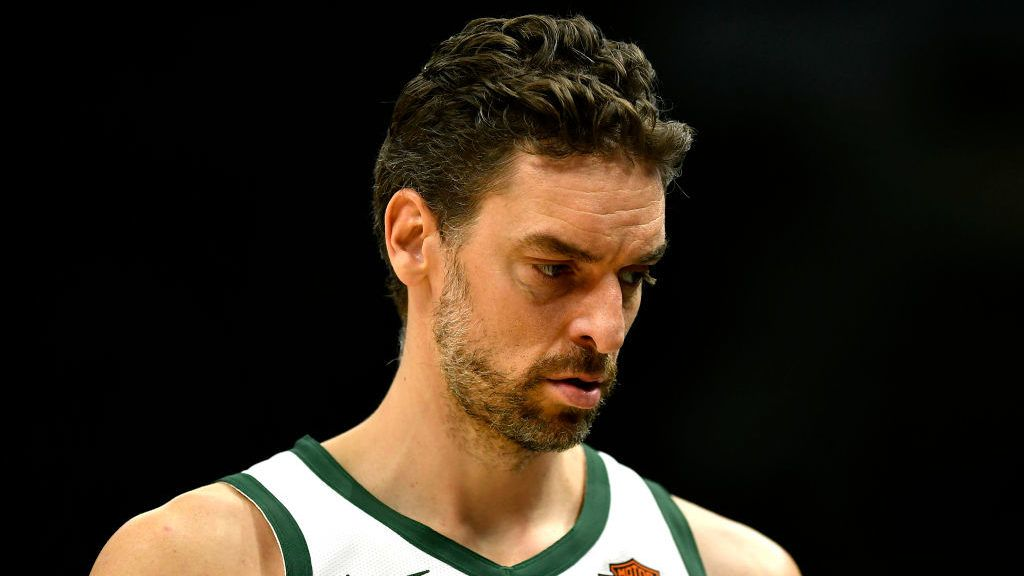 MILWAUKEE, WISCONSIN - MARCH 07: Pau Gasol #17 of the Milwaukee Bucks looks on during the game against the Indiana Pacers at Fiserv Forum on March 07, 2019 in Milwaukee, Wisconsin.  NOTE TO USER: User expressly acknowledges and agrees that, by downloading and or using this photograph, User is consenting to the terms and conditions of the Getty Images License Agreement. (Photo by Quinn Harris/Getty Images)