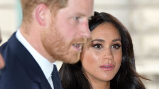 LONDON, ENGLAND - MARCH 19:  Prince Harry, Duke of Sussex and Meghan, Duchess of Sussex arrive at New Zealand House to sign the book of condolence after the recent terror attack which saw at least 50 people killed at a Mosque in Christchurch on March 19, 2019 in London, England. (Photo by Karwai Tang/WireImage)