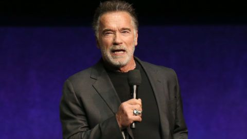 LAS VEGAS, NEVADA - APRIL 04:  Actor Arnold Schwarzenegger speaks during Paramount Pictures exclusive presentation during CinemaCon at The Colosseum at Caesars Palace on April 04, 2019 in Las Vegas, Nevada. CinemaCon is the official convention of the National Association of Theatre Owners. (Photo by Gabe Ginsberg/WireImage)