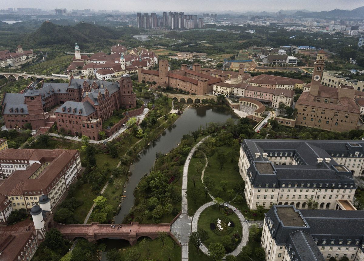 DONGGUAN, CHINA - APRIL 12: Huawei's new sprawling 'Ox Horn' Research and Development campus is seen from the air on April 12, 2019 in Dongguan, near Shenzhen, China. Huawei is Chinas most valuable technology brand, and sells more telecommunications equipment than any other company in the world, with annual revenue topping $100 billion U.S.  Headquartered in the southern city of Shenzhen, considered Chinas Silicon Valley, Huawei has more than 180,000 employees worldwide, with nearly half of them engaged in research and development. In 2018, the company overtook Apple Inc. as the second largest manufacturer of smartphones in the world behind Samsung Electronics, a milestone that has made Huawei a source of national pride in China.While commercially successful and a dominant player in 5G, or fifth-generation networking technology, Huawei has faced political headwinds and allegations that its equipment includes so-called backdoors that the U.S. government perceives as a national security. U.S. authorities are also seeking the extradition of Huaweis Chief Financial Officer, Meng Wanzhou, to stand trial in the U.S. on fraud charges. Meng is currently under house arrest in Canada, though Huawei maintains the U.S. case against her is purely political. Despite the U.S. campaign against the company, Huawei is determined to lead the global charge toward adopting 5G wireless networks.  It has hired experts from foreign rivals, and invested heavily in R&D to patent key technologies to boost Chinese influence. (Photo by Kevin Frayer/Getty Images)