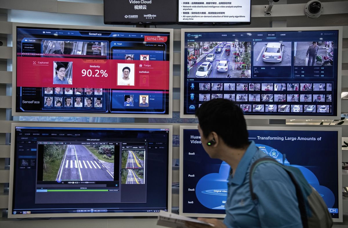 SHENZHEN, CHINA - APRIL 26: A display for facial recognition and artificial intelligence is seen on monitors at Huawei's Bantian campus on April 26, 2019 in Shenzhen, China. Huawei is Chinas most valuable technology brand, and sells more telecommunications equipment than any other company in the world, with annual revenue topping $100 billion U.S.  Headquartered in the southern city of Shenzhen, considered Chinas Silicon Valley, Huawei has more than 180,000 employees worldwide, with nearly half of them engaged in research and development. In 2018, the company overtook Apple Inc. as the second largest manufacturer of smartphones in the world behind Samsung Electronics, a milestone that has made Huawei a source of national pride in China.While commercially successful and a dominant player in 5G, or fifth-generation networking technology, Huawei has faced political headwinds and allegations that its equipment includes so-called backdoors that the U.S. government perceives as a national security. U.S. authorities are also seeking the extradition of Huaweis Chief Financial Officer, Meng Wanzhou, to stand trial in the U.S. on fraud charges. Meng is currently under house arrest in Canada, though Huawei maintains the U.S. case against her is purely political. Despite the U.S. campaign against the company, Huawei is determined to lead the global charge toward adopting 5G wireless networks.  It has hired experts from foreign rivals, and invested heavily in R&D to patent key technologies to boost Chinese influence. (Photo by Kevin Frayer/Getty Images)