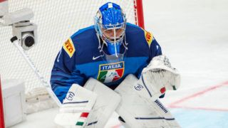 BRATISLAVA, SLOVAKIA - MAY 14: #1 Goalie Andreas Bernard of Italy in action during the 2019 IIHF Ice Hockey World Championship Slovakia group game between Italy and Latvia at Ondrej Nepela Arena on May 14, 2019 in Bratislava, Slovakia. (Photo by RvS.Media/Robert Hradil/Getty Images)