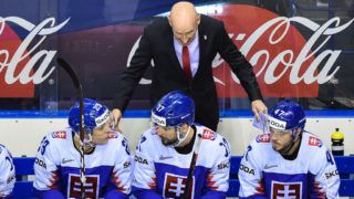 KOSICE, SLOVAKIA - MAY 15: Craig Edward Ramsay head coach of Slovakia talk with players during the 2019 IIHF Ice Hockey World Championship Slovakia group A game between Germany and Slovakia at Steel Arena on May 15, 2019 in Kosice, Slovakia. (Photo by Lukasz Laskowski/PressFocus/MB Media/Getty Images)