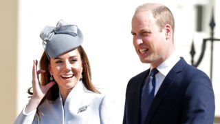 WINDSOR, UNITED KINGDOM - APRIL 21: (EMBARGOED FOR PUBLICATION IN UK NEWSPAPERS UNTIL 24 HOURS AFTER CREATE DATE AND TIME) Catherine, Duchess of Cambridge and Prince William, Duke of Cambridge attend the traditional Easter Sunday church service at St George's Chapel, Windsor Castle on April 21, 2019 in Windsor, England. Easter Sunday this year coincides with Queen Elizabeth II's 93rd birthday. (Photo by Max Mumby/Indigo/Getty Images)