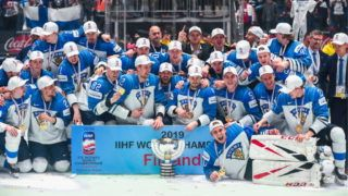 BRATISLAVA, SLOVAKIA - MAY 26, 2019: Gold medalists, Finland's players pose for a group photograph after the 2019 IIHF Ice Hockey World Championship Gold medal match between Canada and Finland at Ondrej Nepela Arena. The Finnish team won the game 3-1. Anton Novoderezhkin/TASS (Photo by Anton NovoderezhkinTASS via Getty Images)