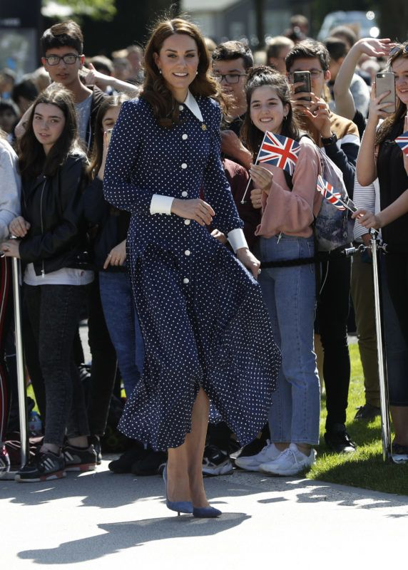 BLETCHLEY, ENGLAND - MAY 14: Catherine, Duchess of Cambridge, arrives for a visit to the D-Day exhibition at Bletchley Park on May 14, 2019 in Bletchley, England. The D-Day exhibition marks the 75th anniversary of the D-Day landings. (Photo by Darren Staples/Getty Images)