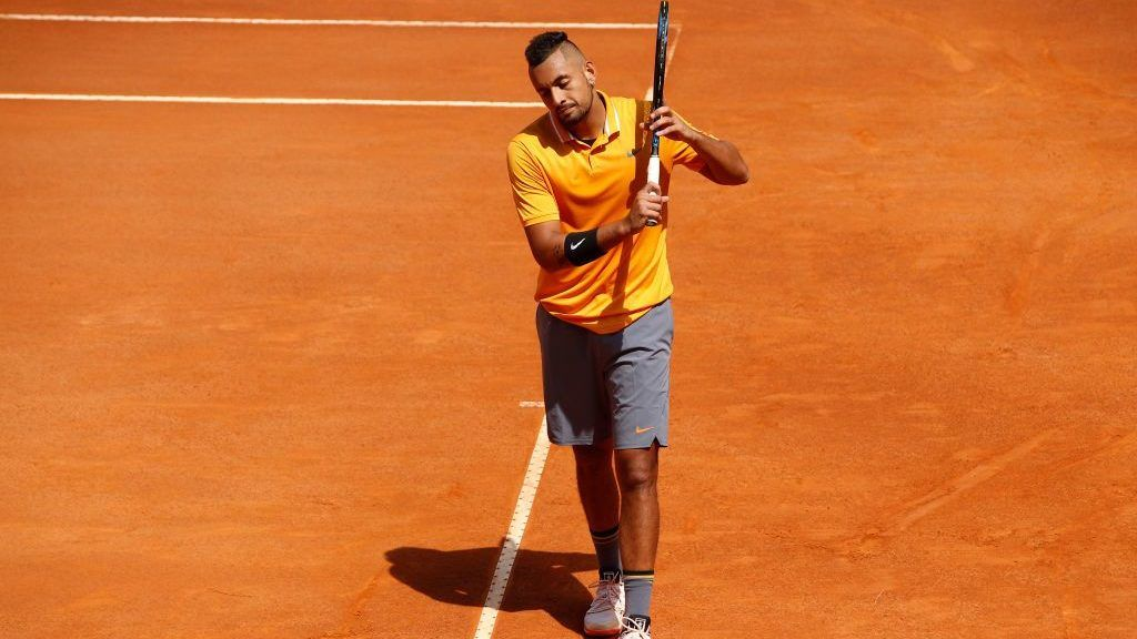ROME, ITALY - MAY 16:  Nick Kyrgios of Australia reacts against Casper Rudd of Norway in their Mens Singles Round of 32 Match during Day Five of the International BNL d'Italia at Foro Italico on May 16, 2019 in Rome, Italy. (Photo by Adam Pretty/Getty Images)