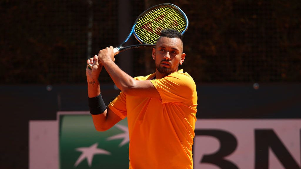 ROME, ITALY - MAY 16:  Nick Kyrgios of Australia plays a backhand against Casper Rudd of Norway in their Mens Singles Round of 32 Match during Day Five of the International BNL d'Italia at Foro Italico on May 16, 2019 in Rome, Italy. (Photo by Clive Brunskill/Getty Images)
