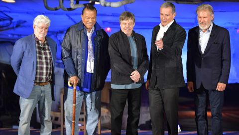 ANAHEIM, CALIFORNIA - MAY 29: (L-R) George Lucas, Billy Dee Williams, Mark Hamill, Bob Iger and Harrison Ford attend the Star Wars: Galaxy's Edge Media Preview at the Disneyland Resort on May 29, 2019 in Anaheim, California. (Photo by Amy Sussman/Getty Images)