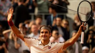PARIS, FRANCE - MAY 29: Roger Federer of Switzerland waves to the crowd after beating Oscar Otte of Germany in the second round of the men's singles during Day 4 of the 2019 French Open at Roland Garros on May 29, 2019 in Paris, France. (Photo by TPN/Getty Images)