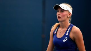 NEW YORK, NY - AUGUST 31:  Jil Belen Teichmann of Switzerland against Isabelle Wallace of Great Britain during their junior girls' first round match on Day Seven of the 2014 US Open at the USTA Billie Jean King National Tennis Center on August 31, 2014 in the Flushing neighborhood of the Queens borough of New York City.  (Photo by Alex Goodlett/Getty Images)