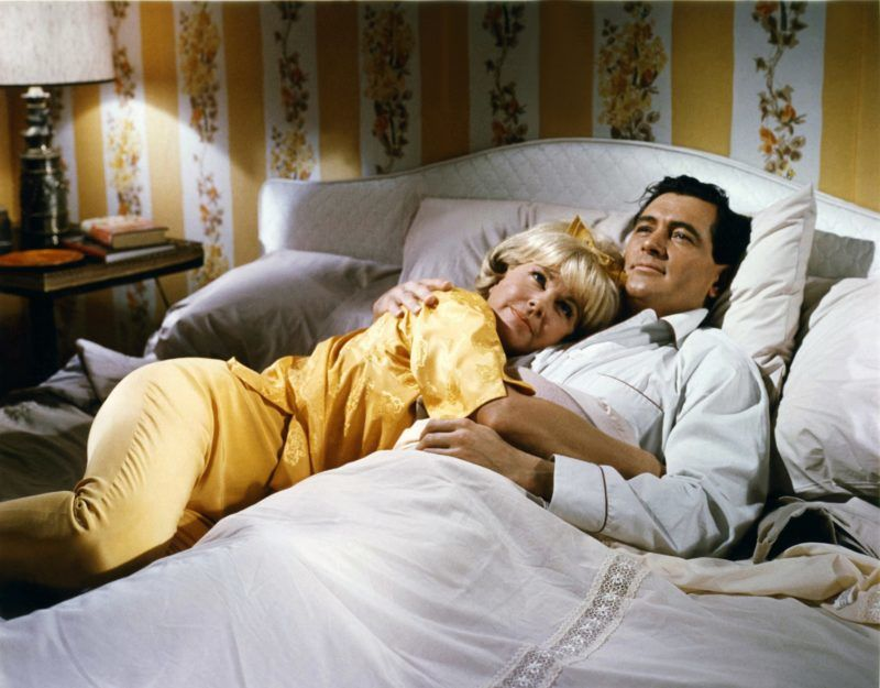 American actors Doris Day and Rock Hudson on the set of Send Me No Flowers, directed by Norman Jewison. (Photo by Sunset Boulevard/Corbis via Getty Images)