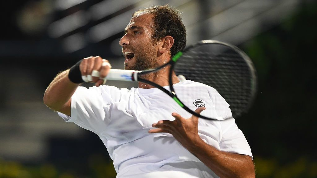 DUBAI, UNITED ARAB EMIRATES - FEBRUARY 27:  Mohamed Safwat of Egypt plays a forehand during his match against Gael Monfils of France on day two of the ATP Dubai Duty Free Tennis Championship on February 27, 2017 in Dubai, United Arab Emirates.  (Photo by Tom Dulat/Getty Images)