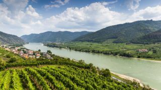 Spitz, Austria, View to Danube river from ruins of Hinterhaus castle.Spitz, Austria, View to Danube river from ruins of Hinterhaus castle.