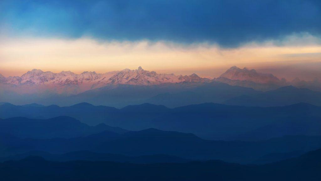 Beautiful layered view of the Himalayan range seen from Nepal.