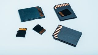 A group of normal and micro SD memory cards on a white background