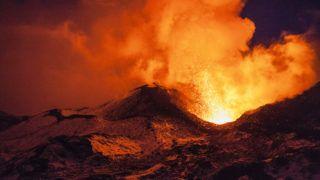 Volcanic eruption in the winter on Kamchatka