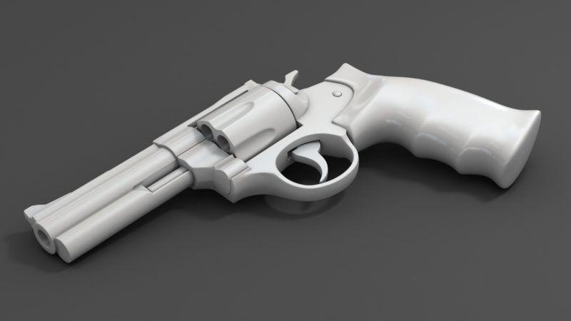 printed plastic gun isolated on white 3d illustration