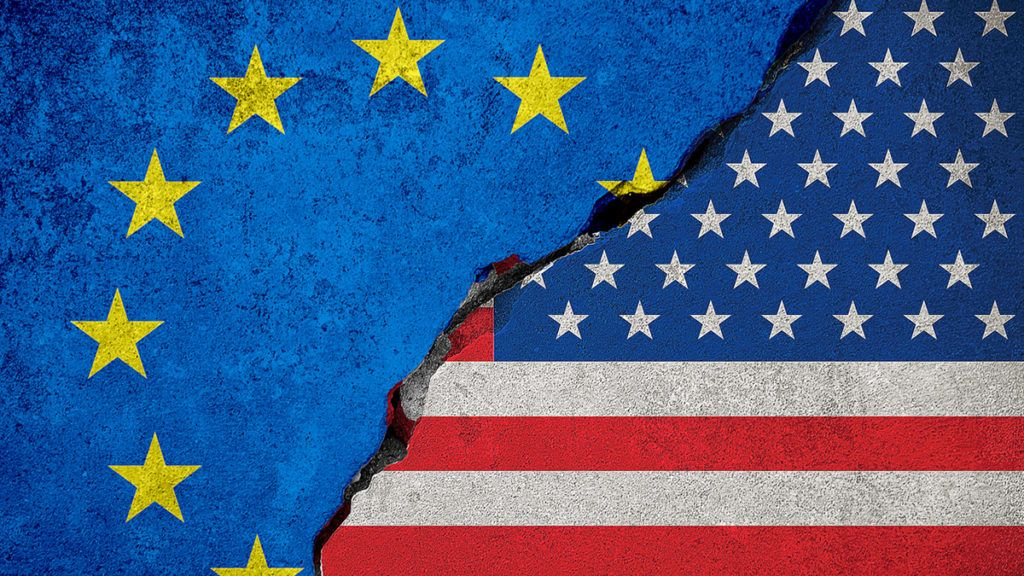 flag of the european union on broken brick wall and half usa united states of america flag, crisis president and europe for europe business customs duties on products tax export and import concept