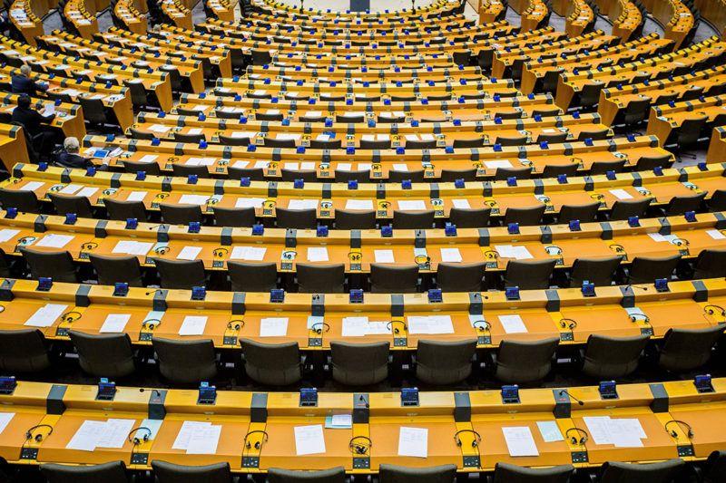 Brüsszel, 2017. március 2.Az Európai Parlament brüsszeli ülésterme egy plenáris ülés alatt, 2017. március 2-án. (MTI/EPA/Stephanie Lecocq)