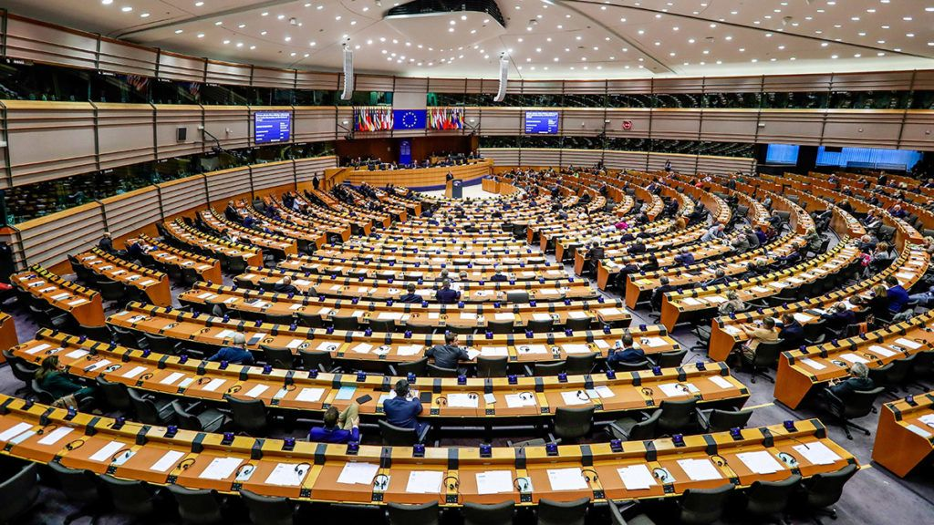 Brüsszel, 2018. november 28.Az Európai Parlament ülésterme az uniós testület plenáris ülésén Brüsszelben 2018. november 28-án.MTI/EPA/Stephanie Lecocq