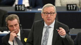 Strasbourg, 2019. április 17. Jean-Claude Juncker, az Európai Bizottság elnöke az Európai Parlament strasbourgi üléstermében 2019. április 17-én. MTI/EPA/Patrick Seeger
