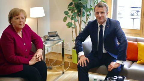 Brüsszel, 2019. május 28. Angela Merkel német kancellár és Emmanuel Macron francia elnök kétoldalú találkozója  az Európai Unió rendkívüli brüsszeli csúcsértekezletének keretében 2019. május 28-án, két nappal az európai parlamenti választások után. MTI/AP pool/Olivier Matthys