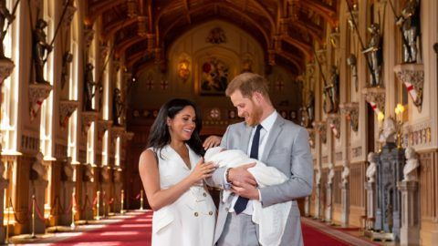 EMBARGOED to 1240 WEDNESDAY MAY 08 2019. The Duke and Duchess of Sussex with their baby son, who was born on Monday morning, during a photocall in St George's Hall at Windsor Castle in Berkshire.  May 8, 2019