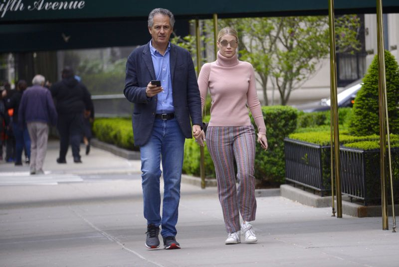 05/12/2019 WORLD EXCLUSIVE: Lady Kitty Spencer flashes a massive diamond ring while out on a romantic stroll with new boyfriend Michael Lewis in New York City. Princess Diana's niece, 28, lovingly put her arm around her 60 year old  fashion tycoon beau during their outing.   ---NO WEB-- sales@theimagedirect.com Please byline:TheImageDirect.com  *EXCLUSIVE PLEASE EMAIL sales@theimagedirect.com FOR FEES BEFORE USE May 12, 2019
