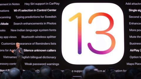 Apple's senior vice president of Software Engineering Craig Federighi talks about the company's upcoming iOS 13, Catalina, during Apple's Worldwide Developer Conference (WWDC) in San Jose, California on June 3, 2019. (Photo by Brittany Hosea-Small / AFP)